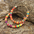 Большие серьги-кольца 65 мм, женская бижутерия в стиле бохо, разноцветные глиняные летние пляжные аксессуары, серьги, подарок для женщин и де...