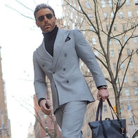 Men's Suits (Jacket+Pants) With Pants Groom Prom Tuxedo Blazer Double Breasted Tweed Suit Business Party Wedding Suits