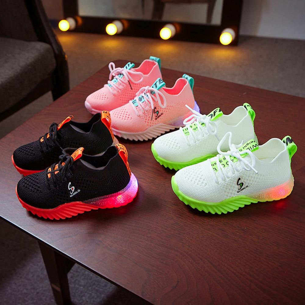 2020 Autumn Led Luminous Shoes Fashion Breathable Children Kid Baby Girls Boys Letter Sport Running Sneakers Mesh Casual Shoes