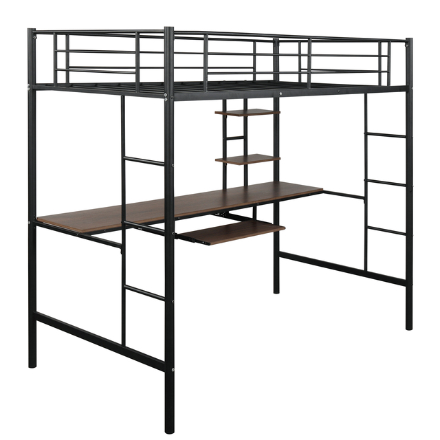 Metal Loft bed with Desk and Shelves 4