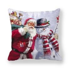 Christmas Santa Claus. Snowman Cushion Cover Pillow Box Square Car Home Christmas Sofa Decoration Pillow Case Christmas Gift pillow cover christmas snow man home decoration