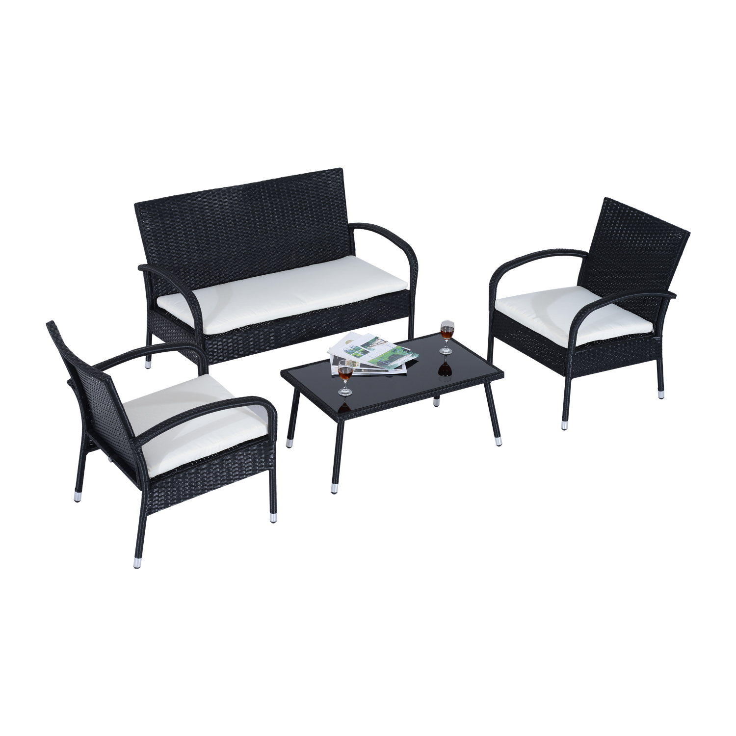 Outsunny Sofa, 2 Chairs And Table With Pillows Cream