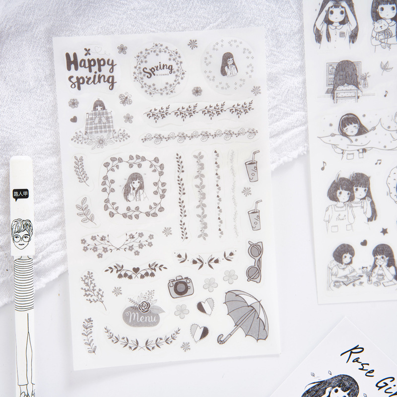 6 Pcs/pack Meet Girl's Daily Life Decorative Stationery Stickers Set Scrapbooking DIY Diary Album Stick Lable