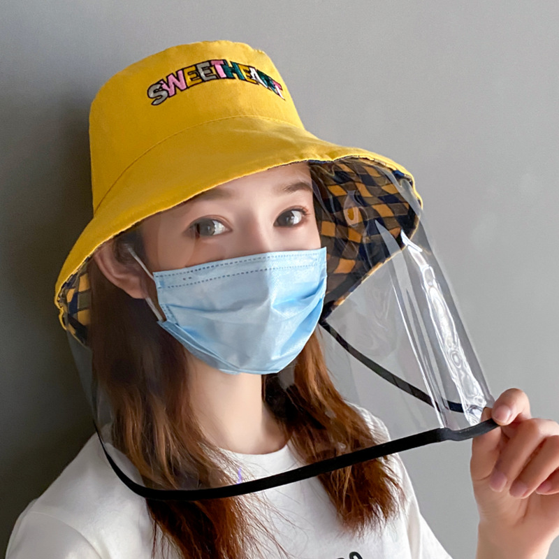 COKK Protective Hat With Plastic Shield Mask Bucket Hat Women Men Anti-fog Saliva Windpoof Dustproof Anti-Spitting Cap Hat