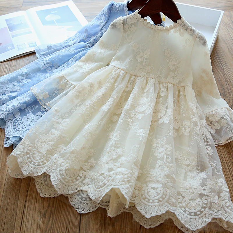 Winter Autumn Girl Lace Embroidery Long Sleeve Dress Children Wedding Birthday Party Vestidos Kids Holiday Casual Wear Clothing 1