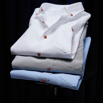 Camisa de manga larga para hombre, vestido liso de ajuste estándar, camisas...