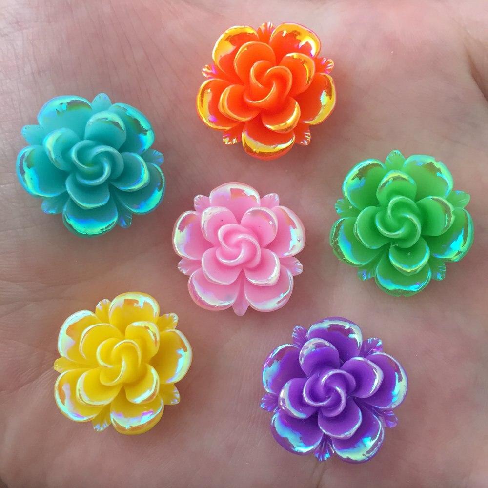 10PCS AB 20mm Resin Flower Stone Flatback Wedding Diy Buttons Scrapbook Crafts R27