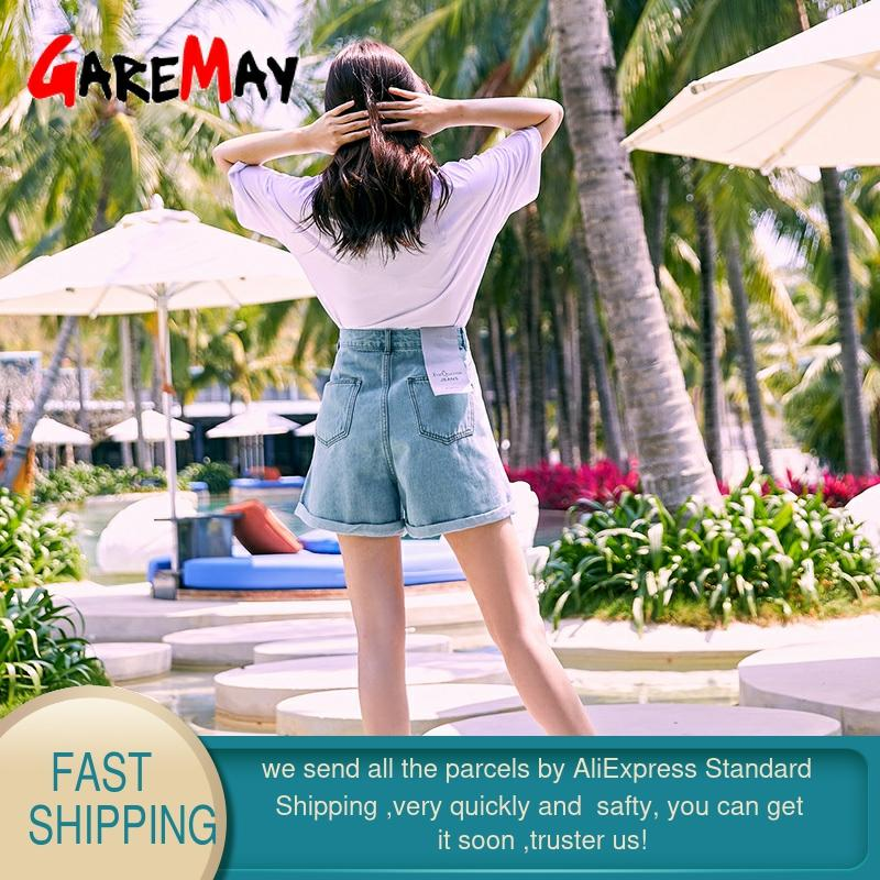 Ultimate Sale—Garemay Denim Shorts Jeans Wide-Leg Classic Blue Vintage High-Waist Summer Women's Female•