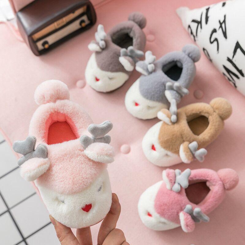 New Baby Girls Slippers Cartoon Deer Kids Winter Shoes Boys Home Slippers Children Shoes Girls Indoor Bedroom Slippers Christmas