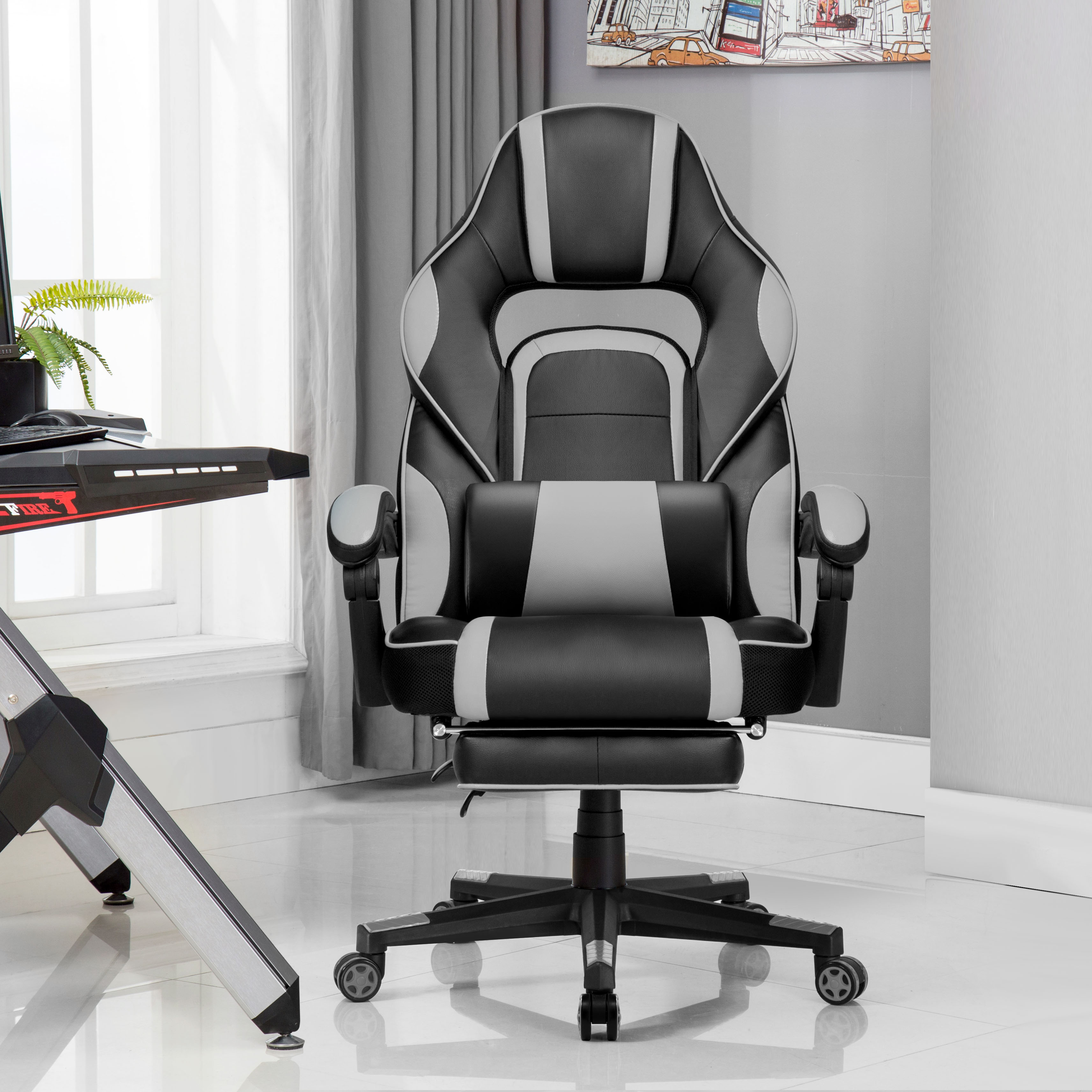 Executive Chair Faux Leather Office Gaming Chair Thick Padded Extendable Racing Gaming Chair With Footrest And Lumbar Cushion DE