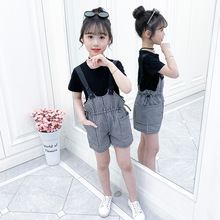 girls clothes summer kids clothing sets teen children fashion costume for girls 6 8 12 years flower t shirt strap dress 2 pcs Fashion Summer Clothes For Girls Children Short Sleeve T shirt & Plaid Strap Shorts 2PCS Costumes Teen Kids Girls Clothing Sets