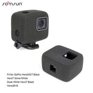 Image 5 - SOONSUN Adaptador de soporte frontal y lateral para casco, reducción de ruido del viento, espuma a prueba de viento, esponja para GoPro Hero 8/7/6/5/2018, accesorio
