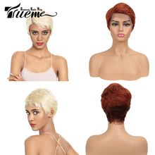 Trueme תחרה מול שיער טבעי פאות 613 בלונד פיקסי Cut פאה קצר רמי ברזילאי שיער פאות צד L חלק תחרה פאות עבור נשים