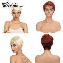 Trueme koronki przodu włosów ludzkich peruk 613 blond fryzura Pixie peruka krótkie włosy brazylijskie Remy peruki boczne L częściowo koronka peruki dla kobiet