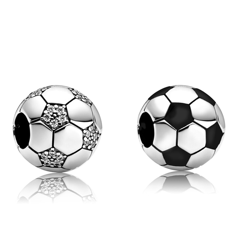 Fit Original Pan Charms Bracelet Clear Crystal Football Beads DIY Jewelry for Women Sports Cute Soccer Charm Bangles Friend Gift