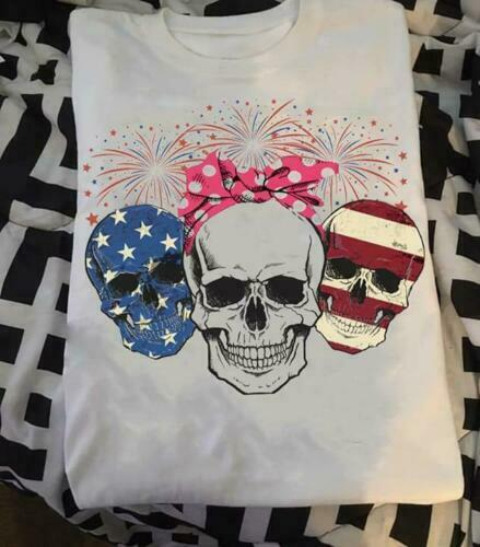 Red White Blue Skull Fireworks 4th Of July US Independence Day Ladies T Shirt