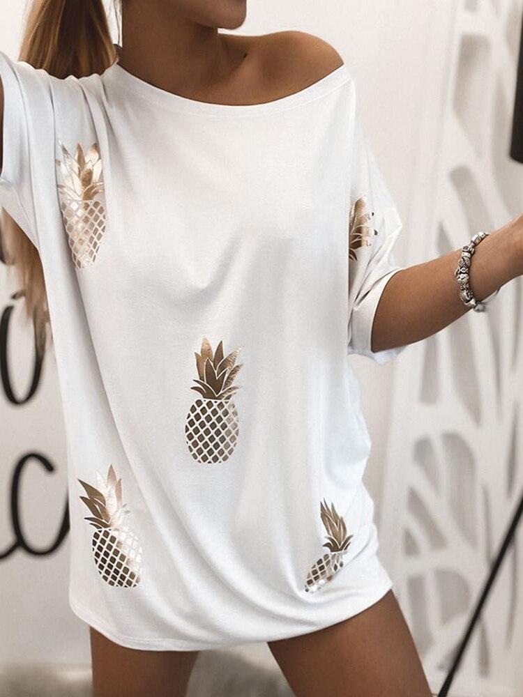 Купить женская свободная футболка с коротким рукавом круглым вырезом