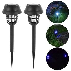 6 pçs solar mosquito assassino jardim luz led bug mosquito armadilha assassino lâmpada à prova dwaterproof água inset repelente anti mosquito casa lâmpadas