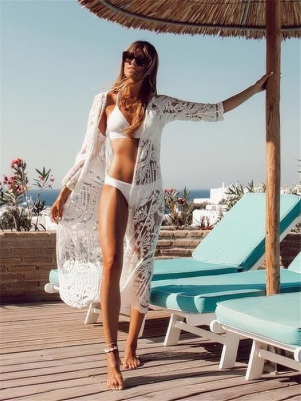 Europe And America New Style Full Lace Mesh Embroidery Beach Skirt Holiday Cardigan Bikini Outer Blouse Sun Shirt Women's