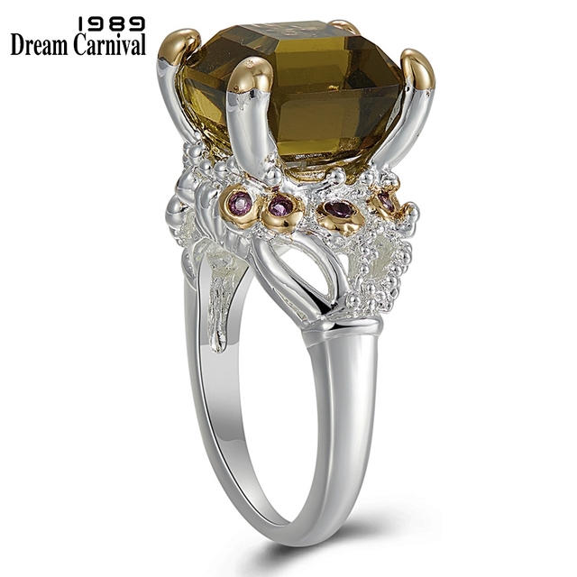Dreamcarnival 1989 Solitaire Promise Wedding Engagement Rings For Women Two Tones Colors Hot Pick Zircon Female Jewelry WA11759