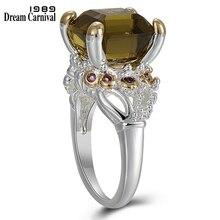 Dreamcarnival 1989 Solitaire Promise düğün nişan yüzükleri kadınlar için İki ton renk sıcak çekme zirkon kadın mücevheratı WA11759