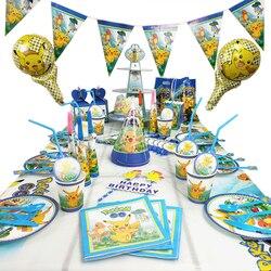 17 Style Pokemon Pocket Monsters Family Birthday Party Decoration Toy Set Pikachu Cartoon Anime Figure Tableware Toy Kid Gift