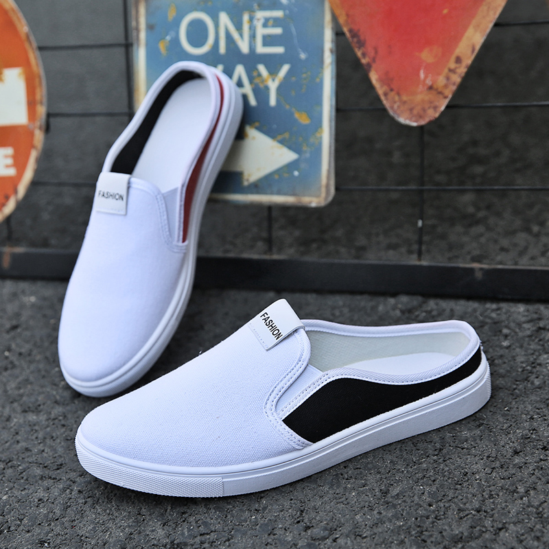 Promo Hot Sale Half slippers Men Anti Slip Fashion Men Sneakers Comfortable Luxury Brand Men Shoes Cheap Slip On Flats Footwear Spring