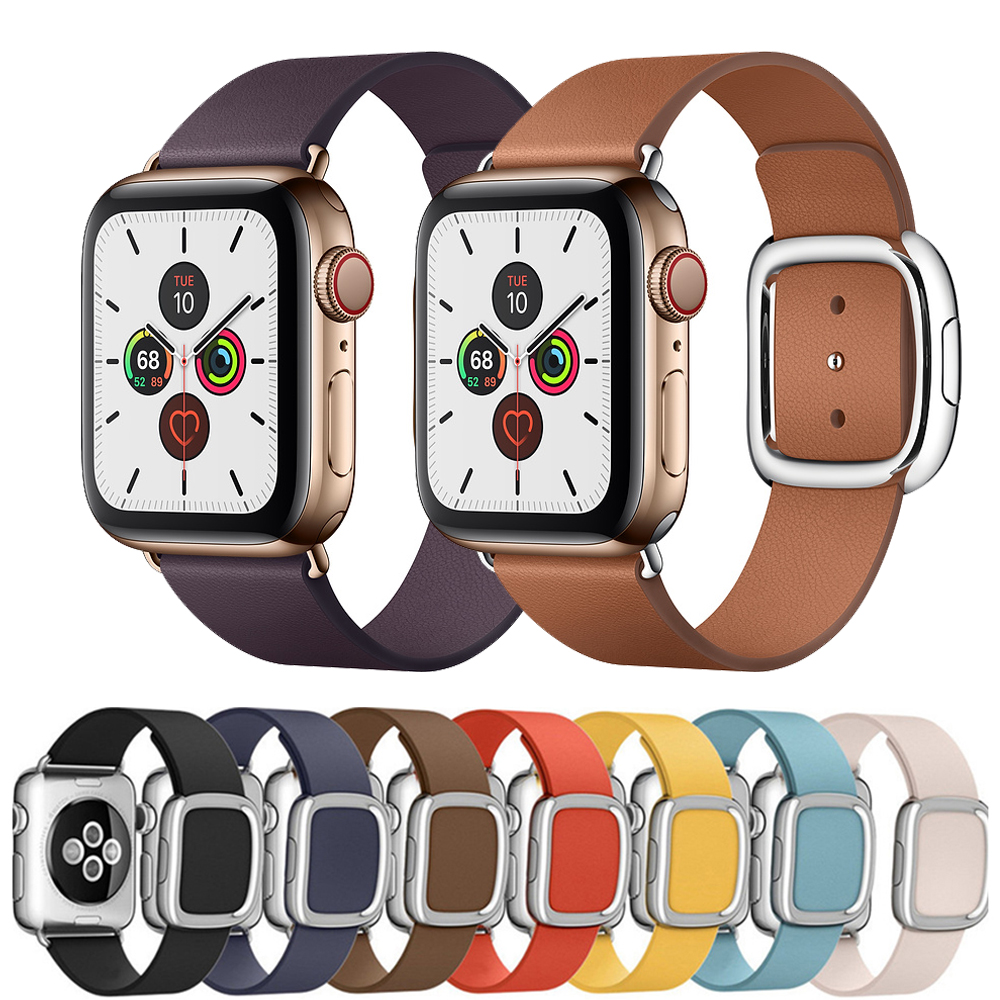 Strap For Apple Watch 5 4 Band 44mm 40mm Iwatch Band 42mm 38mm Modern Buckle Genuine Leather Bracelet Belt Watchband Accessories