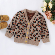 Newborn Baby Boy Girl Clothes Leopard Print Sweater V-neck Button-up Knitted Cardigan Kids Casual Tops for Autumn Winter