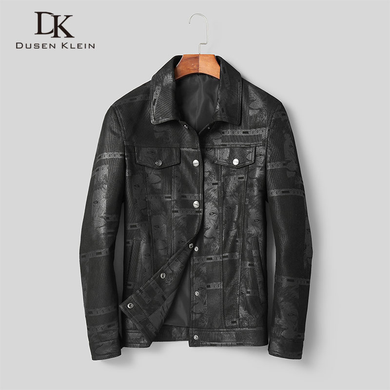 Men Genuine Leather Jacket Real Sheepskin Jackets Casual Short Black Pockets 2019 Autumn New Coat For Man D1903
