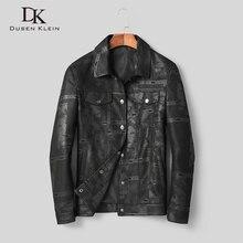 Men Genuine Leather Jacket Real Sheepskin Jackets Casual Short Black Pockets 2019 Autumn New Coat for Man D1903 значок металлический спб разводной мост