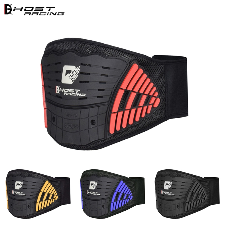 GHOST RACING Motorcycle Back Support Double Lumbar Brace Belt Motocross Protective Breathable High Elastic Adjust Waist Brace