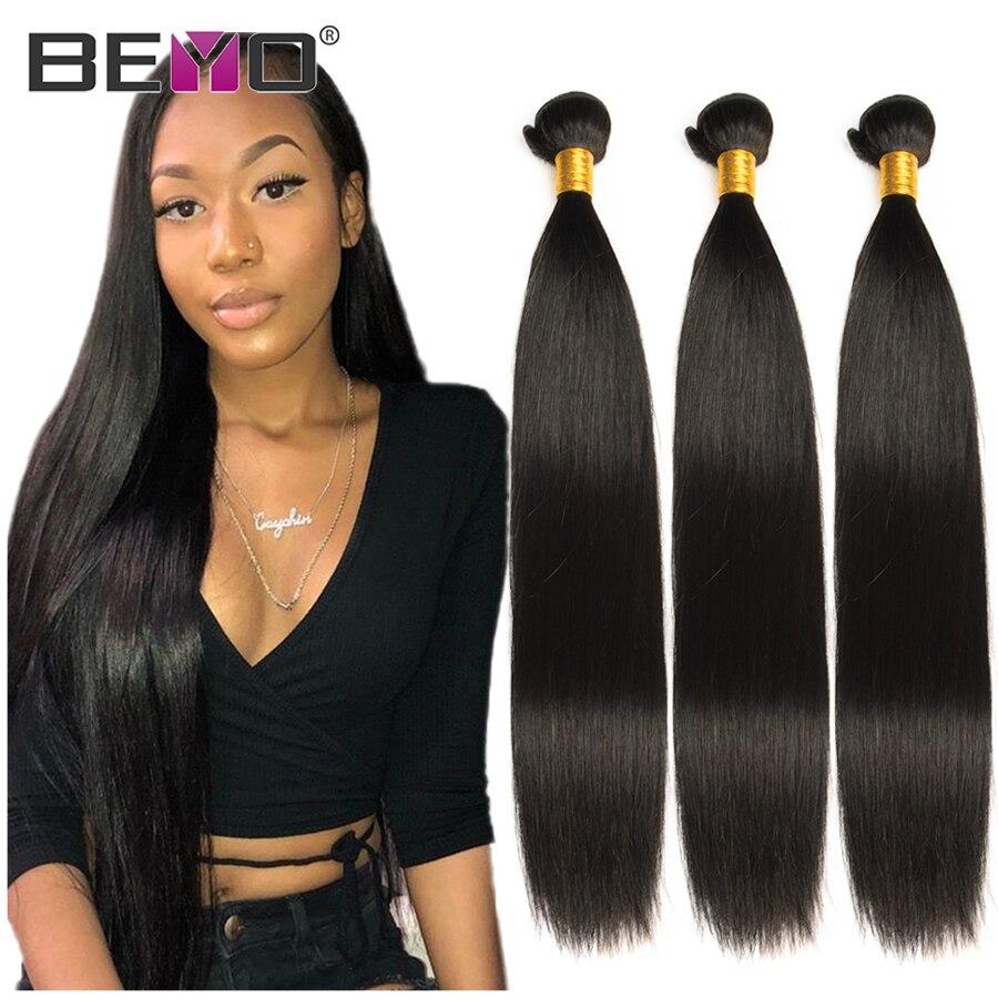 Straight Hair Bundles Indian Hair Weave Bundles 100% Human Hair Bundles 1 / 3 / 4 Bundles Natural Black Hair Extensions Beyo