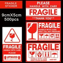 מדבקה שבירה 500 יח\חבילה ידית עם טיפול שביר מדבקות 9cm X 5cm אקספרס אזהרת מדבקה