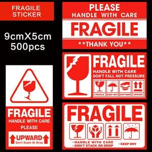 Image 1 - Kırılgan etiket 500 adet/grup kolu ile bakım kırılgan çıkartmalar 9cm X 5cm Express uyarı etiketi