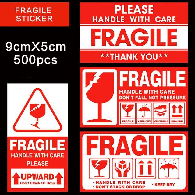 Kırılgan etiket 500 adet/grup kolu ile bakım kırılgan çıkartmalar 9cm X 5cm Express uyarı etiketi