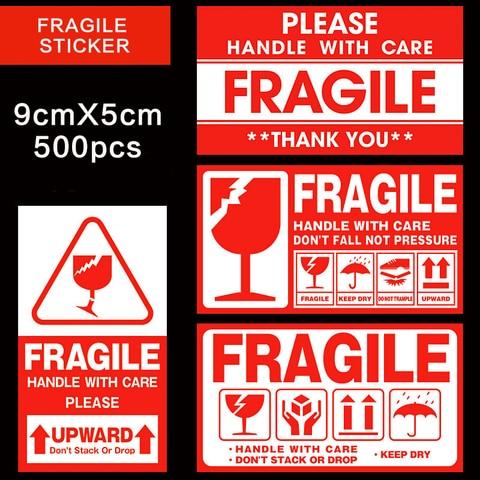 etiqueta fragil 500 pcs lote lidar com cuidado fragil adesivos 9cm x 5cm etiqueta de