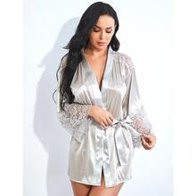 Women Short Satin Bride Nightwear Robe  Silk Bathrobe Nightgown Lingerie Bathing Suit See Through Sleepwear Pyjama femme   9.26