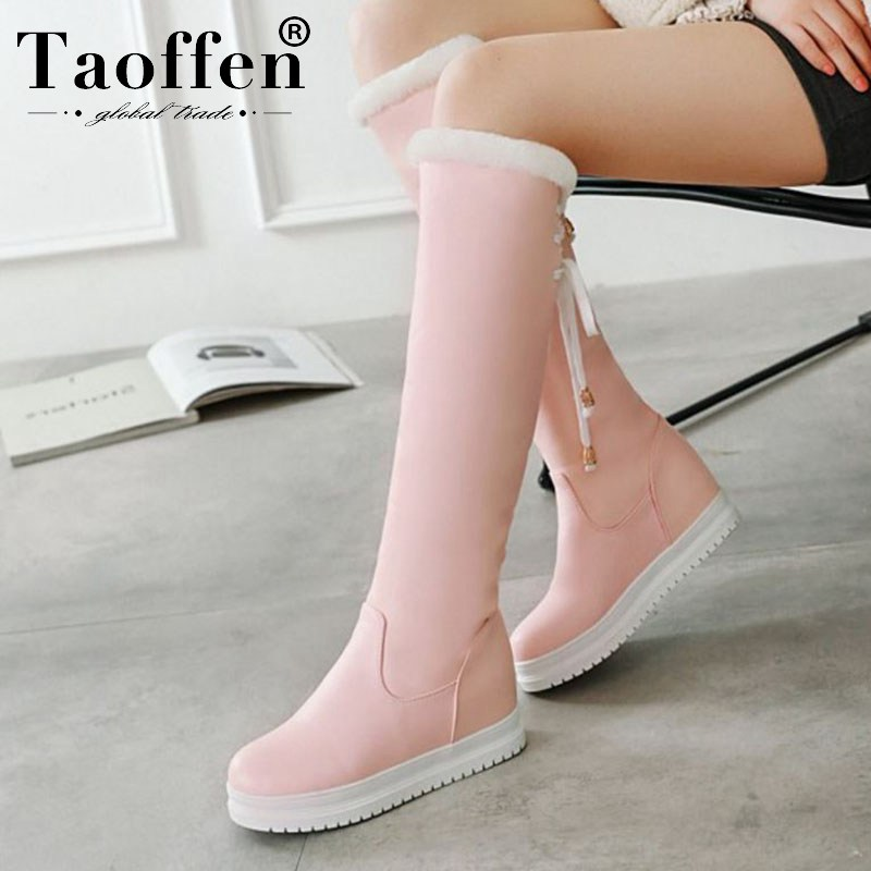 Taoffen Women New Arrival Plush Fur Knee High Boots Lace Up Winter Keep Warm Fashion Boots Daily Shoes Footwear Size 34-43