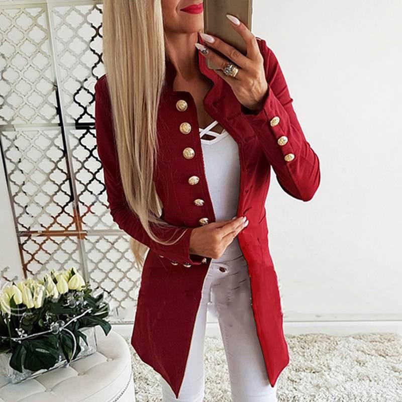 Women Formal Blazer 2020 New Fashion Office Lady Blazers Casual Loose Buttons Long Sleeve Jackets Coats Overcoats Autumn Outwear
