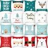 Christmas Cushion cover 45*45 Cartoon Santa Deer Decorative Pillowcase Sofa Cushions New Year Home Decor Polyester Pillowcovers
