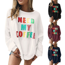 Letter Printed Hoodies Sweatshirt Women Pullovers Casual Crew Neck Hoody Tops Long Sleeve O-Neck Tracksuits Plus Size Clothing water drop printed crew neck sweatshirt
