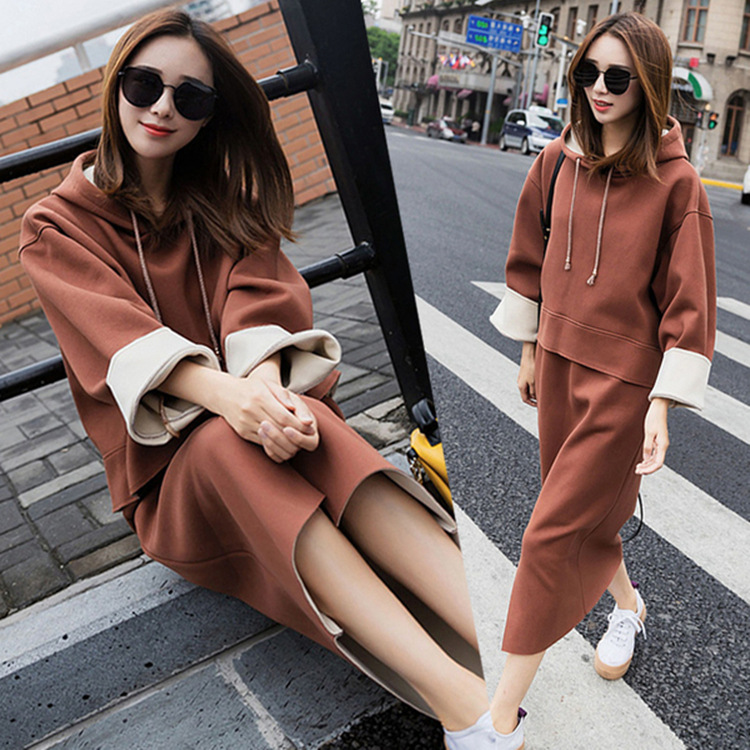 Autumn & Winter Set WOMEN'S Dress Hoodie Skirt Two-Piece 2018 New Style Korean-style Students Loose Thick Set