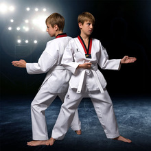 Traditional Children's Dobok Taekwondo Clothes Adult Long Sleeve WTF Karate Uniform White Cotton Men Women Fitness Training Suit taishan wtf poomsae dan dobok male female taekwondo suits authentic designated taishan tkd poomsae fabrics uniforms have dan