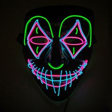 Led Mask Halloween Party Masque Masquerade Masks Neon Maske Light Glowing Cosplay Led Costume Mask EL Wire Light up Rave Party drama performance decor neon led strip prom mask luminous christmas cosplay light up el wire costume mask for festival party