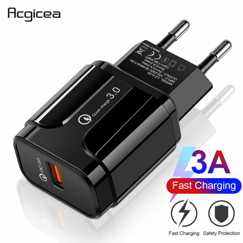 EU US USB Phone Charger Quick Charge 3.0 Fast Charging For Power Bank For Samsung S9 Huawei Phone Tablet 5V 3A Universal Charger