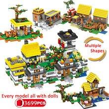 5 modelos sonho aldeia cidade blocos de construção amigos diversificação castl educação tijolos com armas figuras brinquedos para crianças