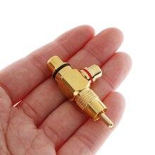 Adaptador de áudio rca banhado a ouro, adaptador divisor rca de 2 fêmeas, plugue rca de áudio e vídeo av, 1 peça conector r, plug r