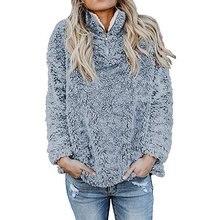 Женская осенне-зимняя флисовая толстовка на молнии с длинными рукавами; пуловер; куртка; пальто