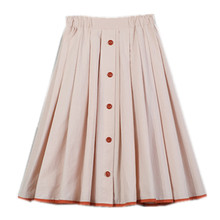 4 to 14 years kids & teenager girls summer beige black cotton casual pleated skirts